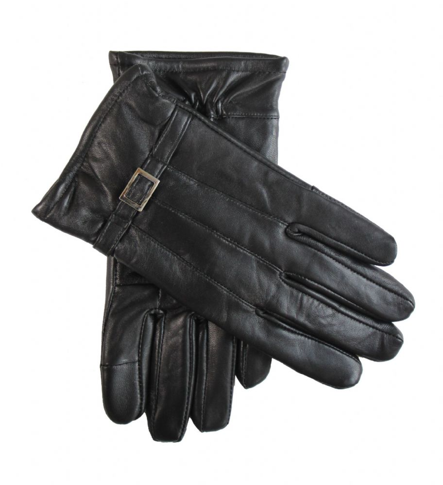 Ladies black genuine leather dress gloves
